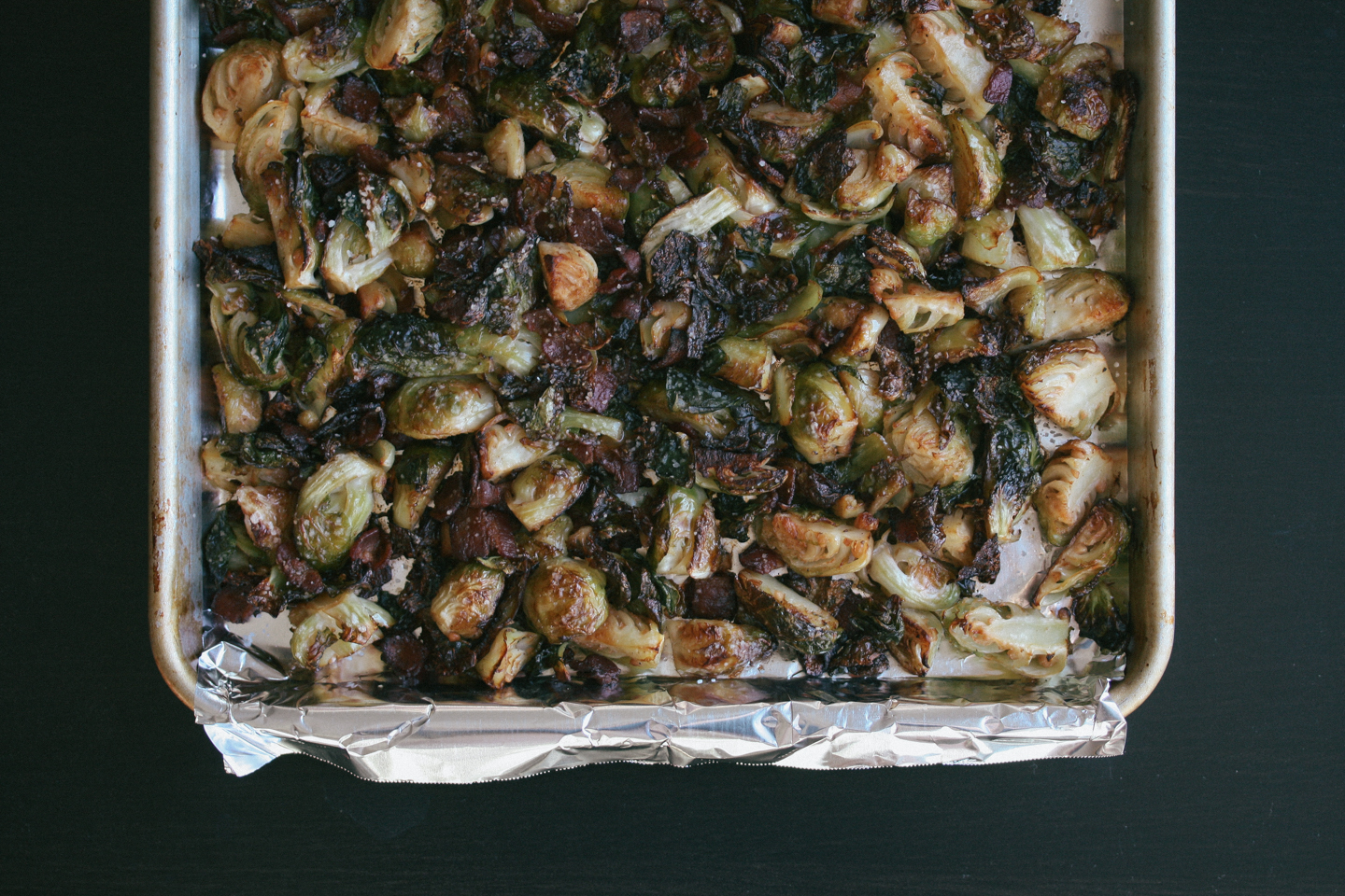 Roasted Brussels Sprouts & Bacon before roasting