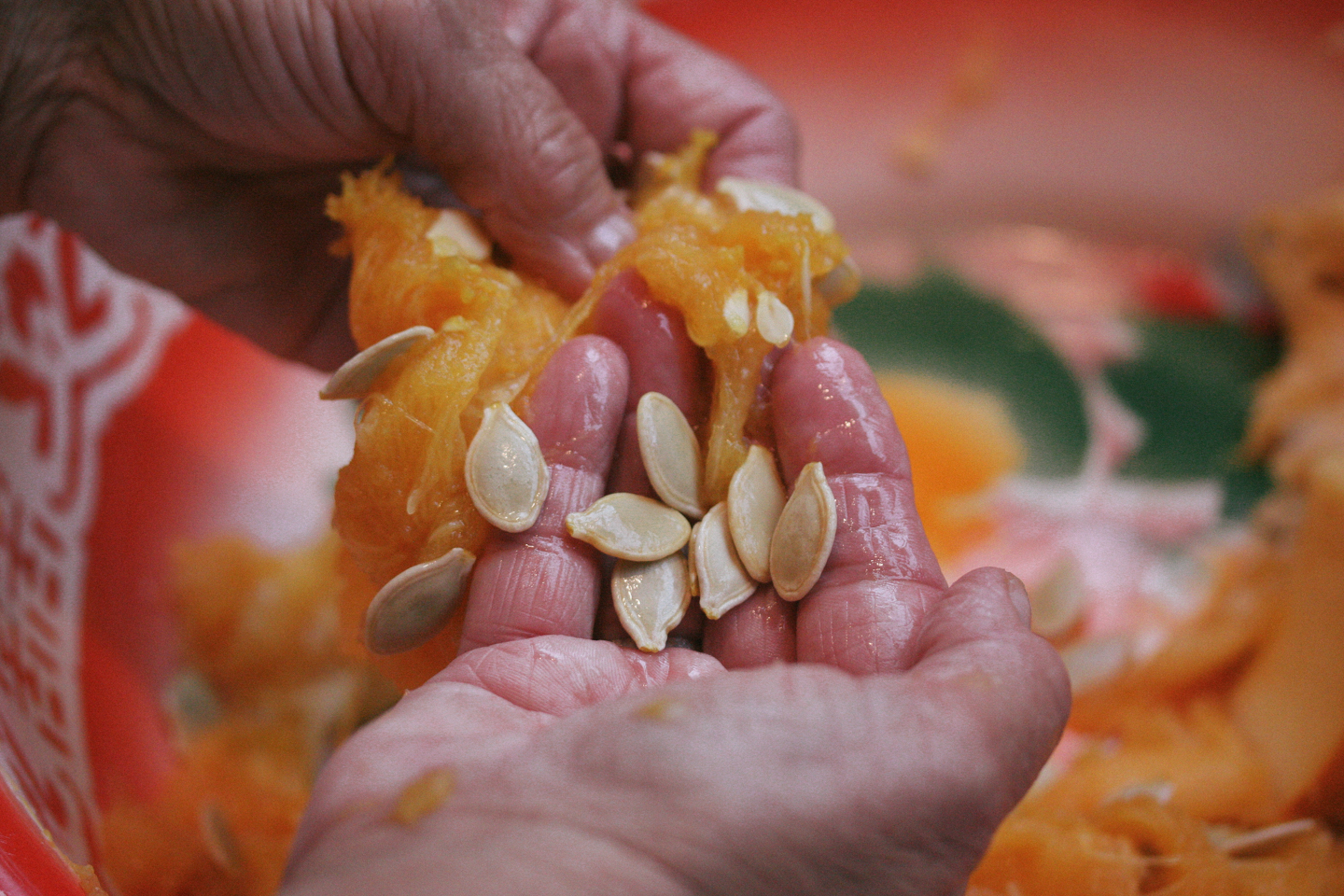 Picking out the seeds from the pulp